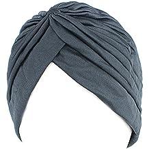 QHGstore Mujer Chemo plisado Pre cabeza atada cubierta hasta Bonnet Sun Turbante Cap gris oscuro