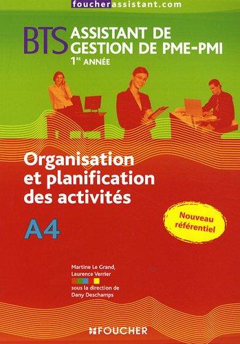 Organisation et planification des activités BTS Assistant de Gestion de PME-PMI 1e année