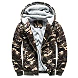Luckycat Herren Hoodie Camouflag Warme Fleece Zipper Sweater Jacke Outwear Mantel Tops Bluse Winterjacke Steppjacke Daunenjacke Parka Mäntel Jacken