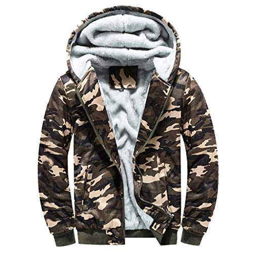 Männer Hoodie, Zip Sweater Top, Bluestercool Owl Print Winter Camouflage Velvet Futter