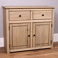 Home Discount Panama Sideboard 2 Door 2 Drawer Natural Wax Oak Solid Furniture