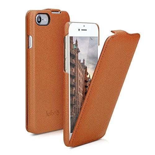 kalibri-Flip-Hlle-Ultra-Slim-Tasche-fr-Apple-iPhone-7-Leder-Schutzhlle-Case-in-Cognac