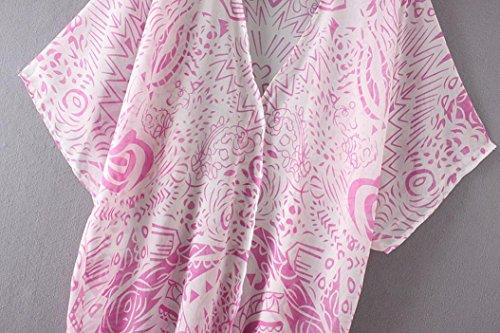 KanLin Chiffon Blumendruck Strand Lose Kimono Strickjacke Deckel oben Rosa