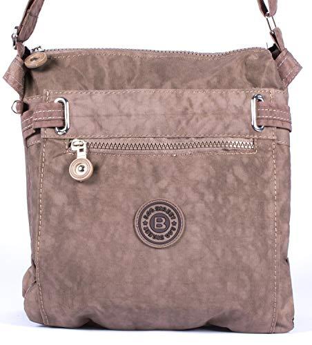 sportliche Handtasche/Schultertasche/Umhängetasche aus Nylon braun