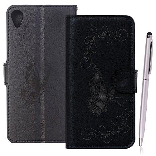 Etui Sony Xperia E5 , Anfire Papillon Motif Peint Mode PU Cuir Étui Coque pour Sony Xperia E5 (5.0 pouces) Housse de Protection Luxe Style Livre Pochette Étui Folio Rabat Magnétique Coque Couverture S Noir