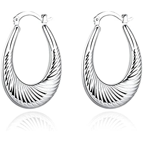 lureme®Moda Stile Placcato in argento Ovale Shaped Hoop
