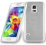 Cadorabo DE-104634 Samsung Galaxy S5 Mini / S5 Mini DUOS (G800F) Handyhülle aus TPU Silikon in gebürsteter Edelstahloptik (Brushed) Silber