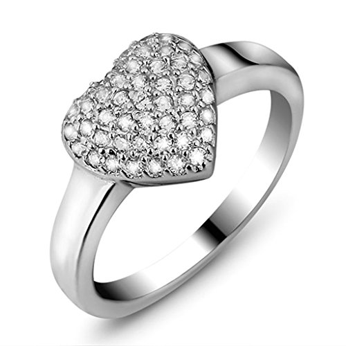 Daesar Silver Plated Wedding Rings Womens Cubic Zirconia, used for sale  Delivered anywhere in UK