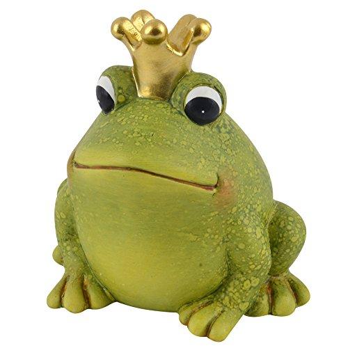 Frosch mit Krone Deko Figur Keramik grün Dekoration Trend Garten (15x14x11cm)