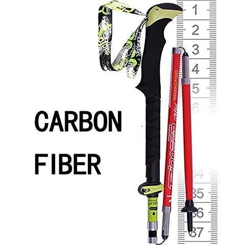 Canne de Marche-Bâton Trekking Canne réglable en hauteur Système anti-choc Ultralight Bâtons de marche nordiques Bâtons de marche pliants en carbone 3 joints
