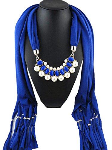 jelinda femmes perles Pendentif Collier Bijoux Accessoires glands écharpe châle Wrap Bleu - Bleu marine