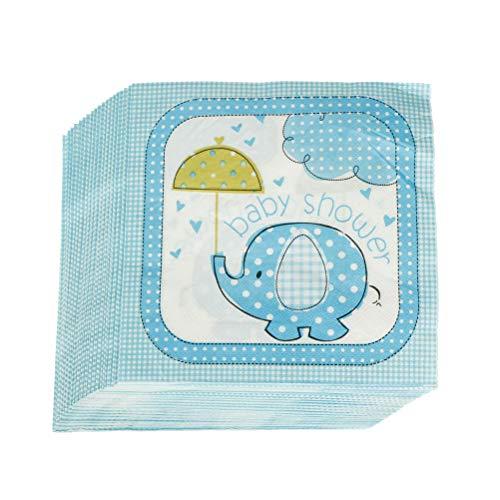 Blau Elefant Papierservietten Für Baby Shower Party-Zubehör,20 Stück 13 Zoll Einweg Servietten Babyparty Servietten