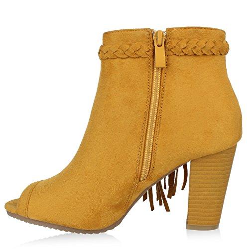 Damen Stiefeletten Vorne Offen Ankle Boots Fransen Blockabsatz Gelb