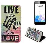 Pour Smartphone Meizu M5c Case 360° Cover 'live the life you love' Fonction Stand Wallet BookStyle Housse Protection Sac Étui Couvervle pour Meizu M5c meilleur prix, la meilleure performance - K-S-Trade(TM)