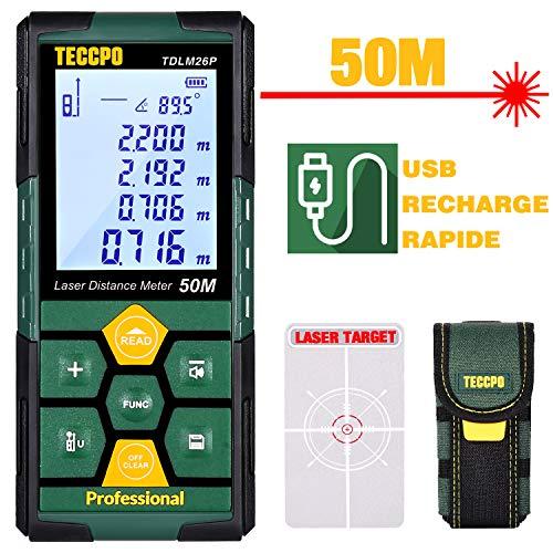 Télémètre laser 50m TECCPO, USB 30mins Charge rapide, Capteur Électronique Angulaire, 99 stockage, 2.25'' LCD rétro-éclairé mute fonction, mesure Distance, Surface et Volume, IP54, trépied, TDLM26P