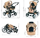 "14 teiliges Qualitäts-Kinderwagenset 2 in 1 ""FLASH"": Kinderwagen + Buggy – Megaset – all inklusive Paket in Farbe ANTHRAZITE-ORANGE - 8"