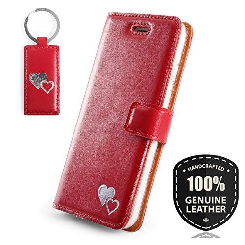 Silber Herz - Premium Vintage Ledertasche Schutzhülle Wallet Case aus Echtesleder Farbe Rot für Huawei Mate 10 Pro (6,00 Zoll)