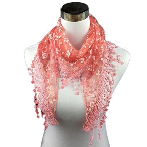 ZARU Lace Quaste Sheer Burnout-Blumendruck -Dreieck Mantilla Schal (Watermelon Red) (Burnout-schal)