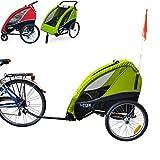 PAPILIOSHOP B-FOX NEW Rimorchio passeggino carrellino per il trasporto di 2 due bambino bambini con la bici ruote anteriori piroettanti bicicletta portabimbo bimbo bimbi carrello pieghevole carrozzina da con x porta bimbo (Verde)