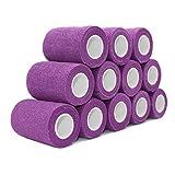 COMOmed Tissus non tissés pansement bandage pansements adhésifs Bandage animal ,Bandage auto-adhésif élastique 7.5 cm X4.5m Violet 12 Volume