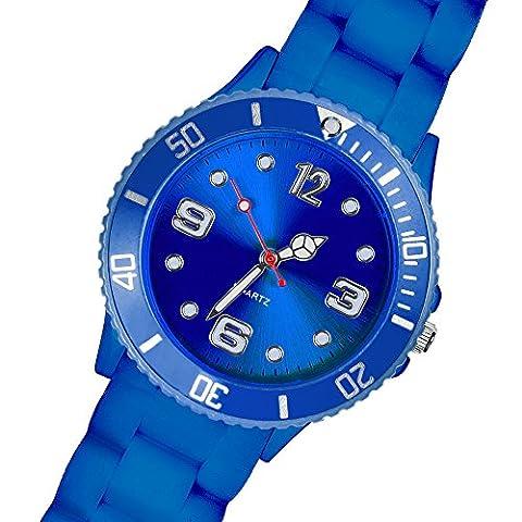 Taffstyle Sportuhr mit Silikonarmband für Damen und Herren in verschiedenen Farben - 39mm / Blau (Sportuhr Herren Blau)