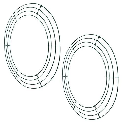 Bbto 2 pezzi in metallo filo corona cornice 14 pollici anelli verde scuro filo per la casa decorazioni festa giorno di san patrizio di natale composizioni floreali