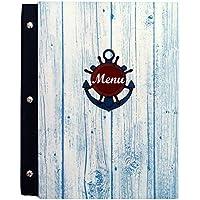 Titular de menú Tamaño A4 Restaurante Pub, Hotel Club, Cubierta del titular del menú Tamaño A4, estilo marino (Marina 3)