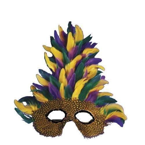 Mask Mardi Gras Tall Feather