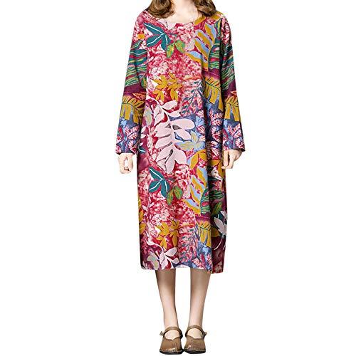 Kleider für Damen Langarm Kleid Maxikleider Blumenkleid Drucken Strandkleid Vintage Rundhals Hohe...