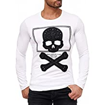 Red Bridge Herren Totenkopf Langarmshirt Pullover Strass Skull Design RBC  M2125 Shirt