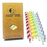 7 pajitas de papel arcoíris para decoración de dulces y pasteles, para cumpleaños, bodas, fiestas...