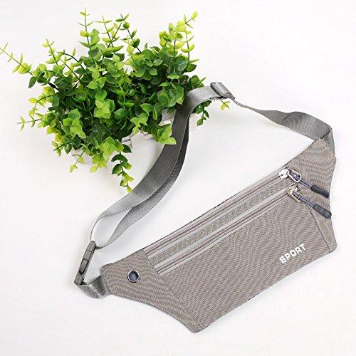 KANG@ Sport Taille Pack Multifunktions Running Männer und Frauen Outdoor Handy Tasche Anti-Diebstahl intime Stealth wasserdicht Beutel Grau
