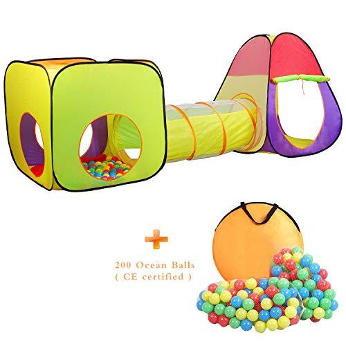Wellhome Pop Up Faltbare Kinderspielzelt mit Tunnel Spielzelt mit Tasche und 200 Bälle Drinnen und Draußen für Jungen Mädchen und Babys