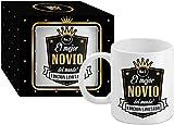 Taza Cerámica para Desayuno en Color Blanco de 300 ml, Un Regalo Original para Familia y Amigos - 'El mejor NOVIO del mundo!'