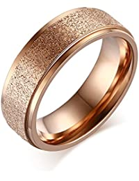 Asma Stainless Steel 6mm Rose Gold Plated Dull Polished Simple Sand Blasted Wedding Ring Band For Women