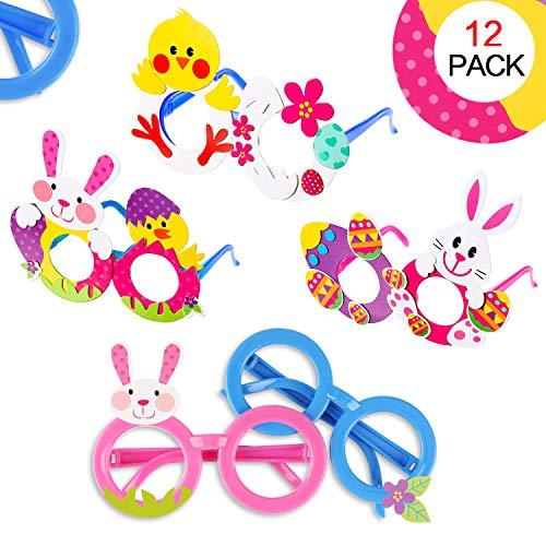 Howaf 12 pezzi pasqua decorazioni fai da te occhiali per bambini, pasqua costumi accessorio bambini festa occhiali di plastica, regalo di pasqua bambini