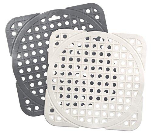 FACKELMANN Spülbeckenmatte TECNO, Spülbeckeneinlage aus Kunststoff, zuschneidbarer Spülbeckenschutz (Farbe: Grau, Weiß - nicht frei wählbar), Menge: 1 Stück