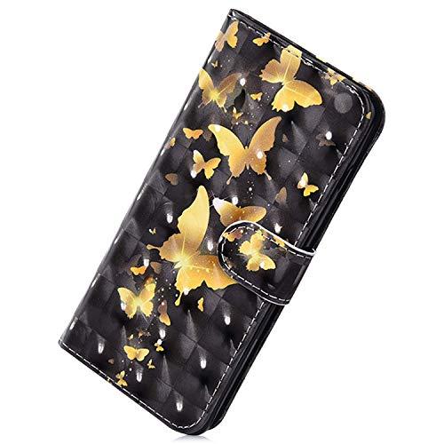 Herbests Kompatibel mit Samsung Galaxy Note 10 Plus Handy Hülle Handytasche Leder Hülle Bunt Glitzer Bling Glänzend Leder Schutzhülle Flipcase Brieftasche Wallet Tasche,Schmetterling Gold