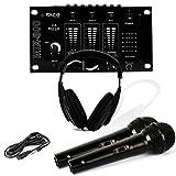 Casque Dj Sono + table de mixage MIX-800 IBIZA + 2 Micros Dynamiques Noir