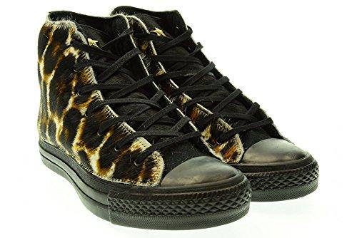 Converse Sneakers Frauen hohe 1C15FA30 Dschungel Fell ALL STAR HALLO CANVAS / LTH LTD Nero-Marrone-Bianco