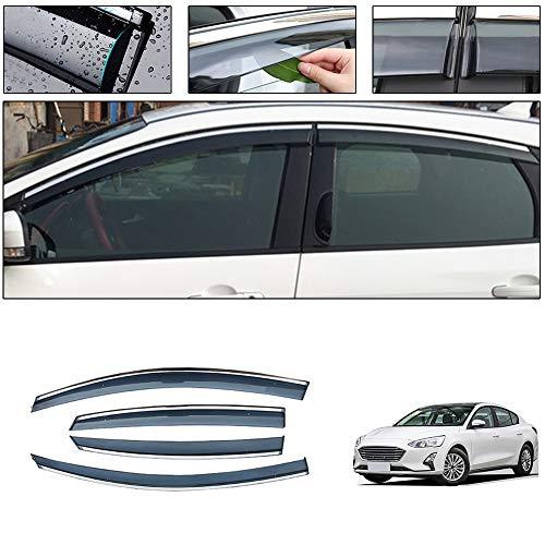saitake Windabweiser Für Ford Focus 2019 4PCS Autofenster Visier Sonne Regen Rauchabzug Schatten Klebeband Außenvisiere