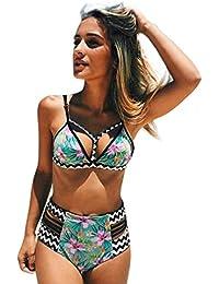 Bevalsa Femme Bikini 2 Pieces Bohème Bandage Imprimé Floral Gilet Push-up Rembourré Maillot de bain Shorty Taille Haute