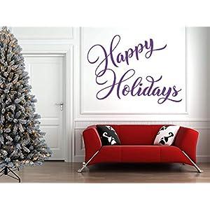Happy Holidays Zitat. Weihnachten, Vinyl, Wandkunst Aufkleber, Wandbild, Aufkleber. Haus, Wanddekoration.