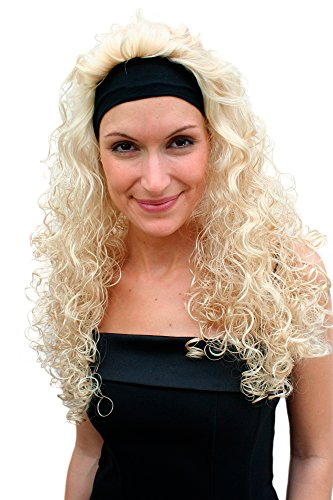 WIG ME UP VK Event Fashion - Perruque & Bandeau Frontal, Blond, Longue, Avec Boucles, Style Vampire, 80'S