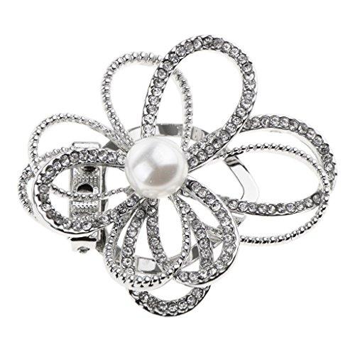 Baoblaze Vintage Strass Brosche Blumen Pin Anstecknadel Rund Stil Brosche für Damen - Geschenk - Silber