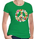 buXsbaum Damen Girlie T-Shirt Peace Flower Symbol | Frieden | XS, Grün