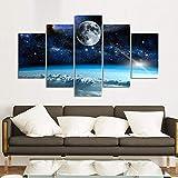 YB Quadro Decorativo Moderno Quadro Stampa su Tela Quadro Cinque incantesimi Universo Luna - Quadro Decorativo Moderno 40x60cm (x2) 40x80cm (x2) 40x100cm (x1) Senza Cornice