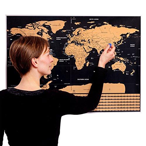 MyGadget Weltkarte Zum Rubbeln - Scratch Off Poster [77 x 56 Groß] Wanderlust World Map Länder + Flaggen Rubbelkarte - Welt Reise Landkarte (Schwarz) - Poster Trading Card