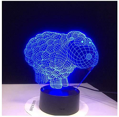Nette Schafe Cartoon 7 Farben ändern 3D Vision Nachtlicht Acryl Tischlampe LED Cartoon Beleuchtung Lampen Kinder Geschenke Wohnkultur -