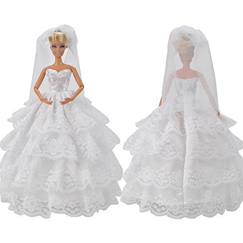 E-TING Handmade Princess Party Dress Wedding Gown Doll Clothes With Veil For Barbie Dolls